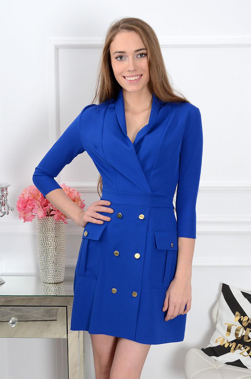 Sukienka dwurzędowa Gerda kobalt Rozmiar: M