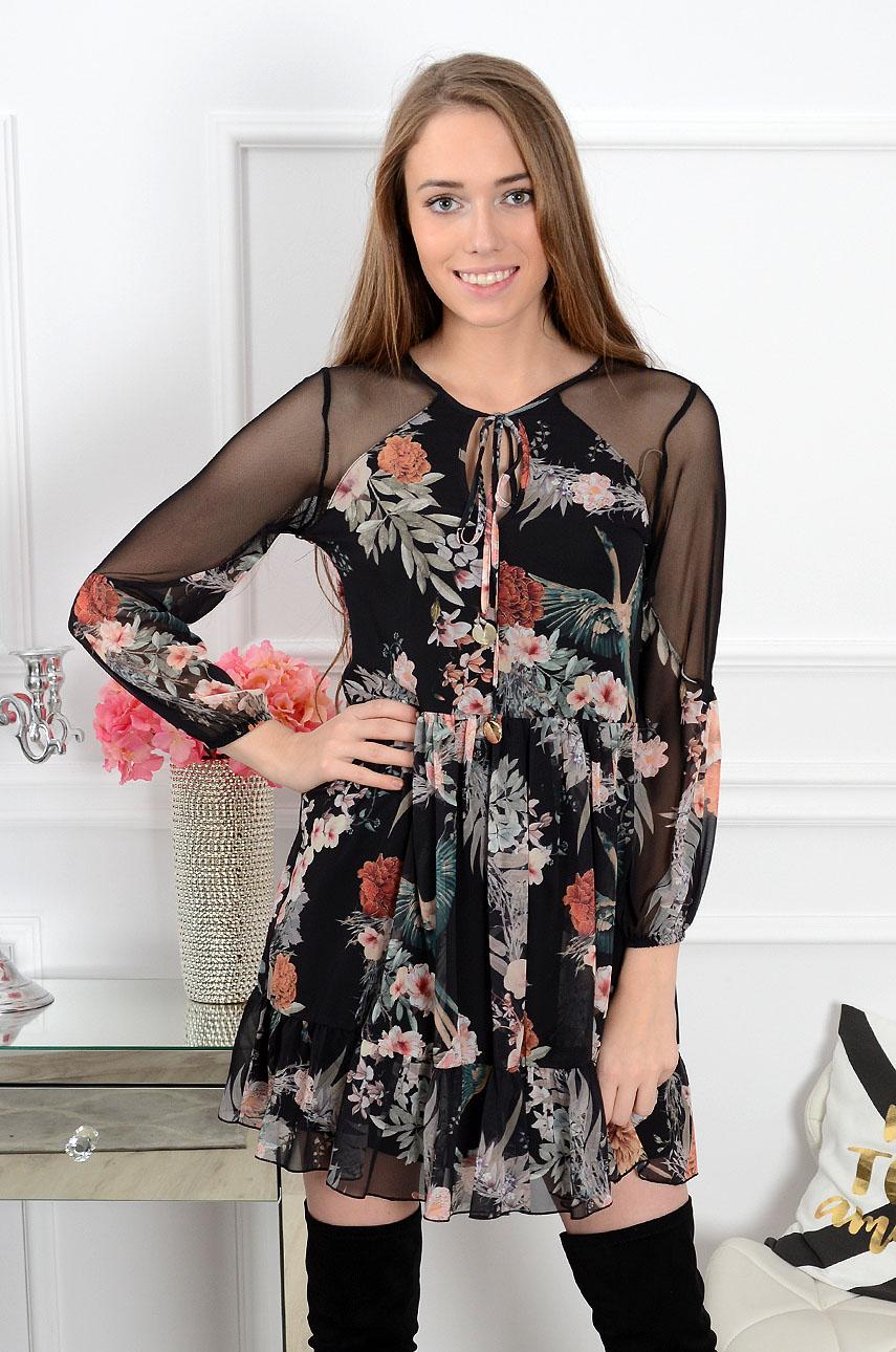 Sukienka Zoya z siateczką w kwiaty czarna