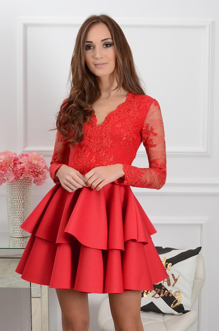 28310cb61e Sukienka Eliza długi rękaw czerwona - Cocomoda.pl - odzież da...