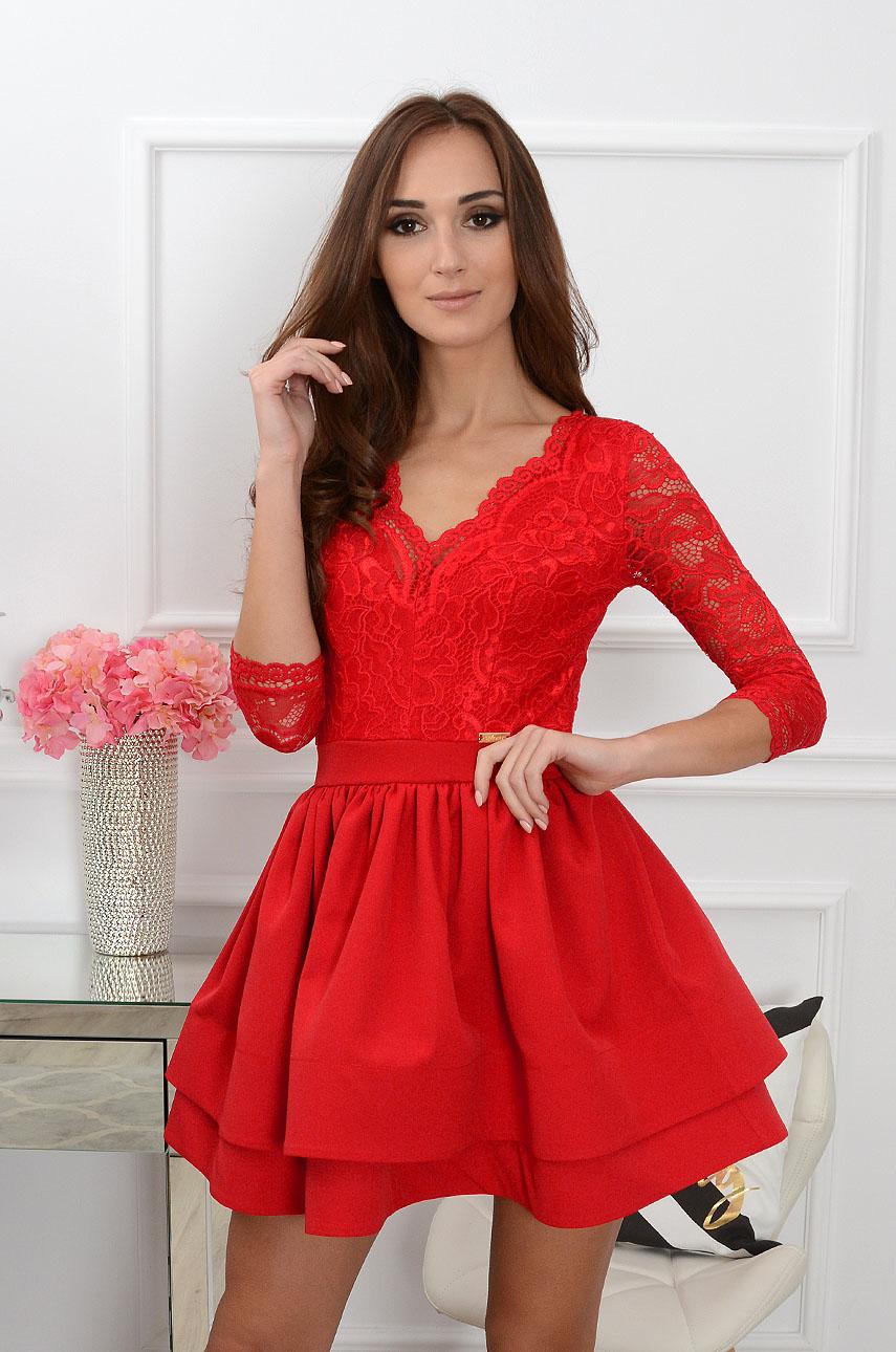 5e1d2d7b Sukienka Samara z koronką czerwona