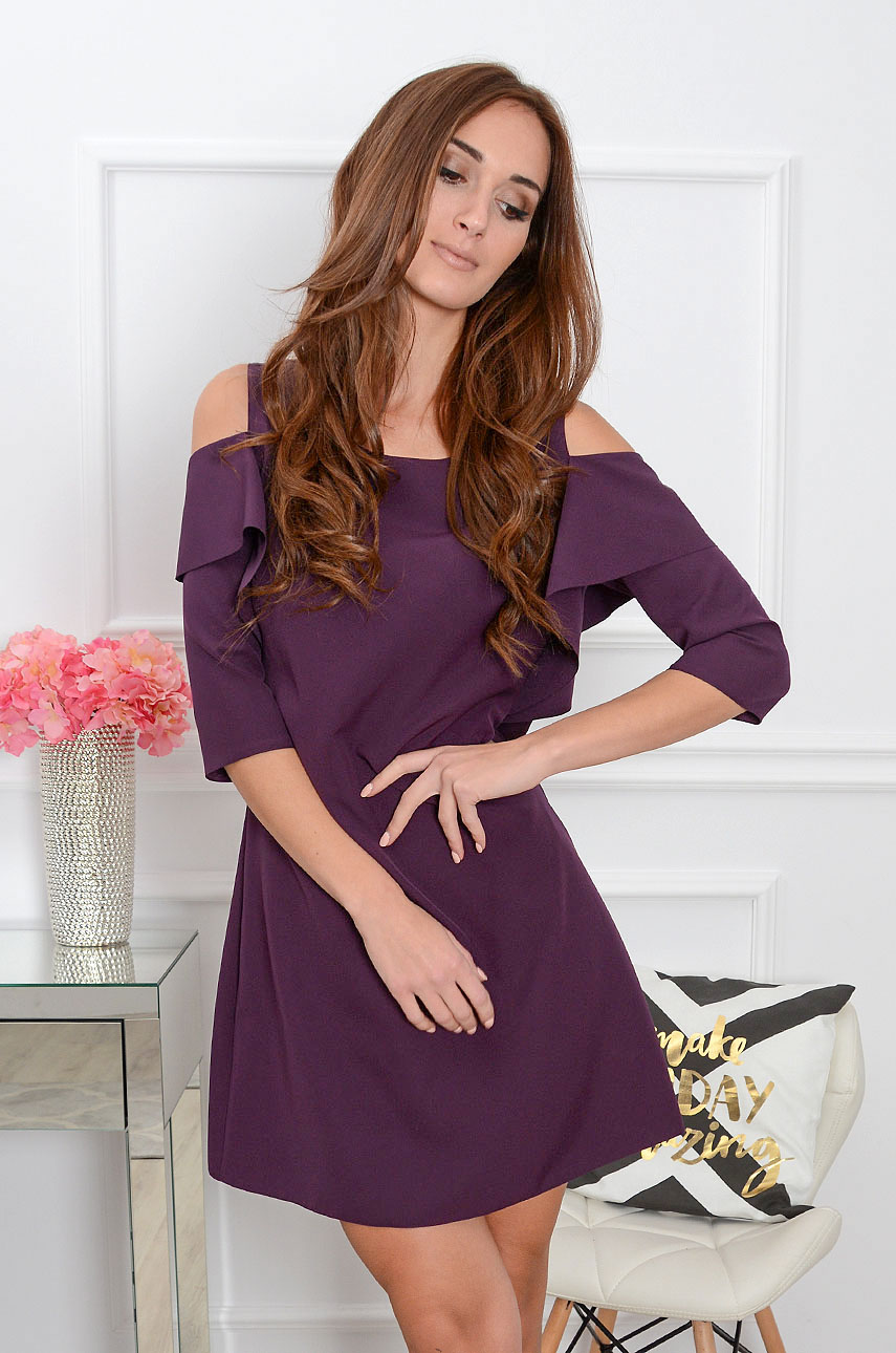 Sukienka Adria gołe ramiona z rękawem burgund Rozmiar: S
