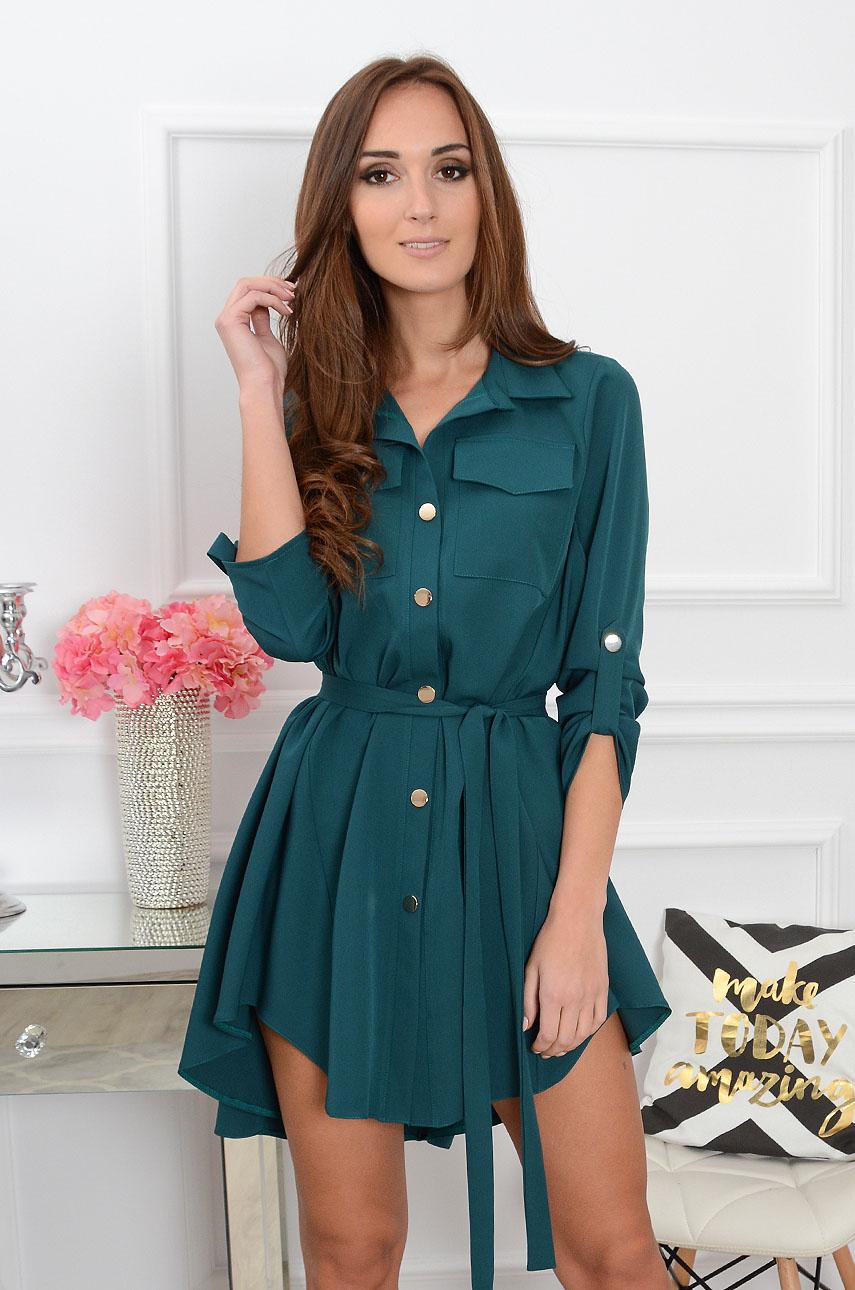 81a1d6a2daac99 Unikalna sukienka asymetryczna butelkowa zieleń, Sklep intern...