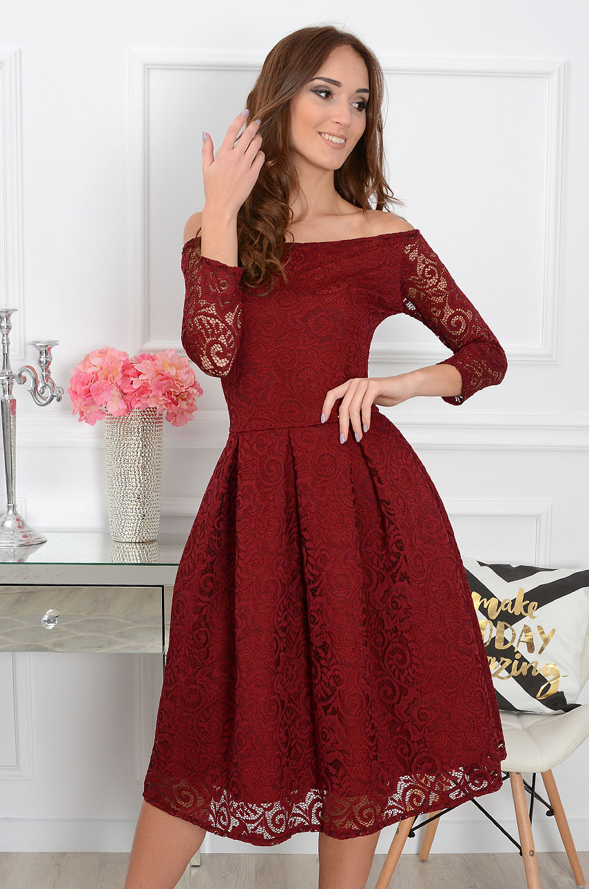 Sukienka koronkowa Scarlet midi burgund new 2