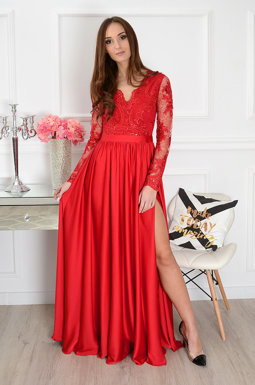 Sukienka maxi Athena długi rękaw new czerwona Rozmiar: M