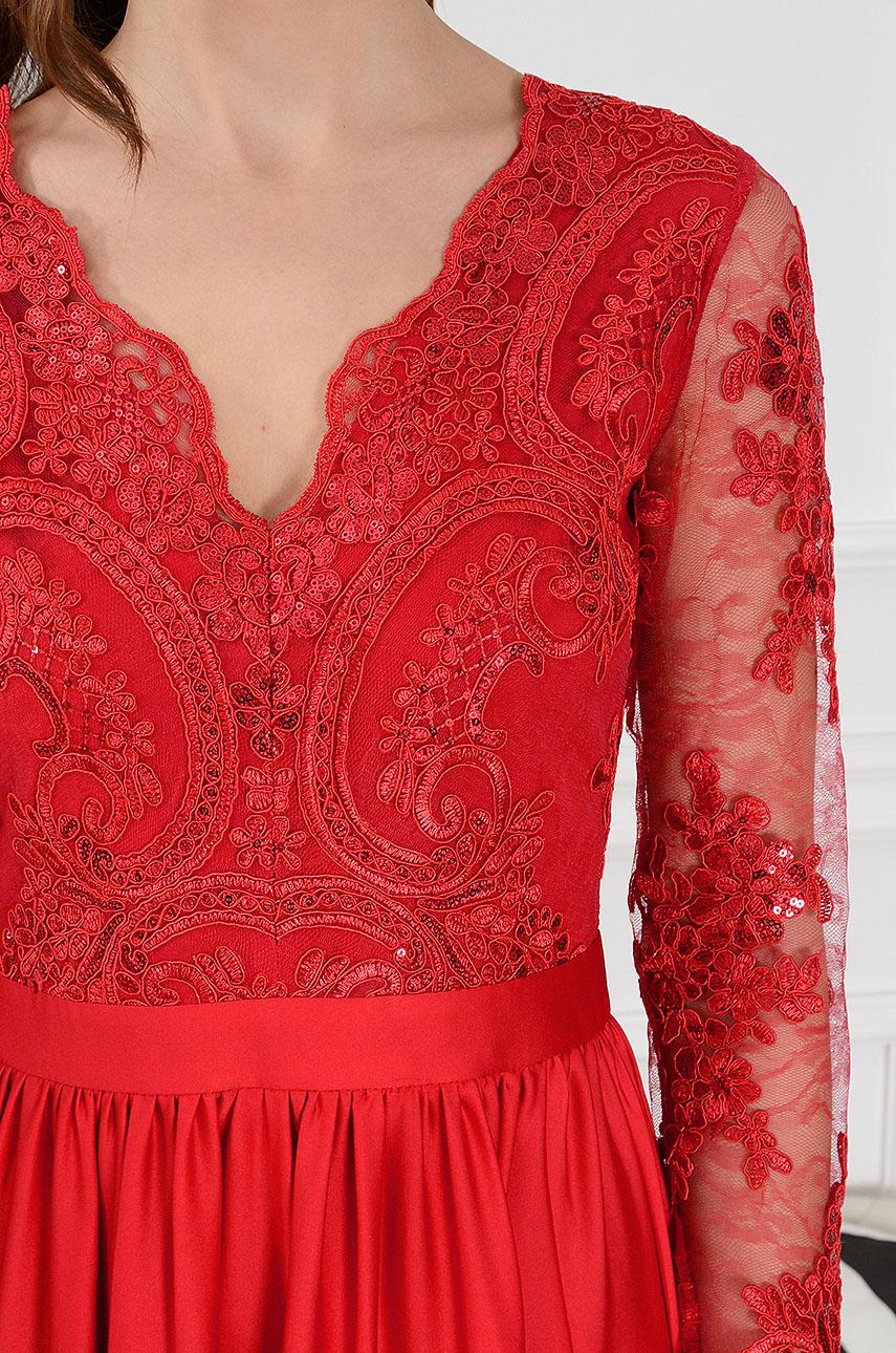 07a0449ffd Sukienka maxi Athena długi rękaw czerwona new