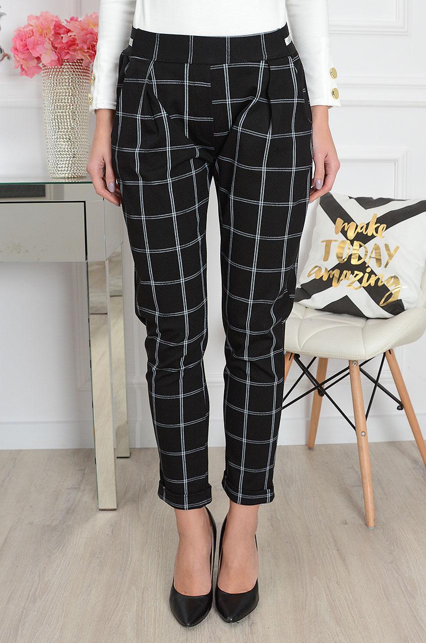 Spodnie w kratę na ozdobnej gumie czarne