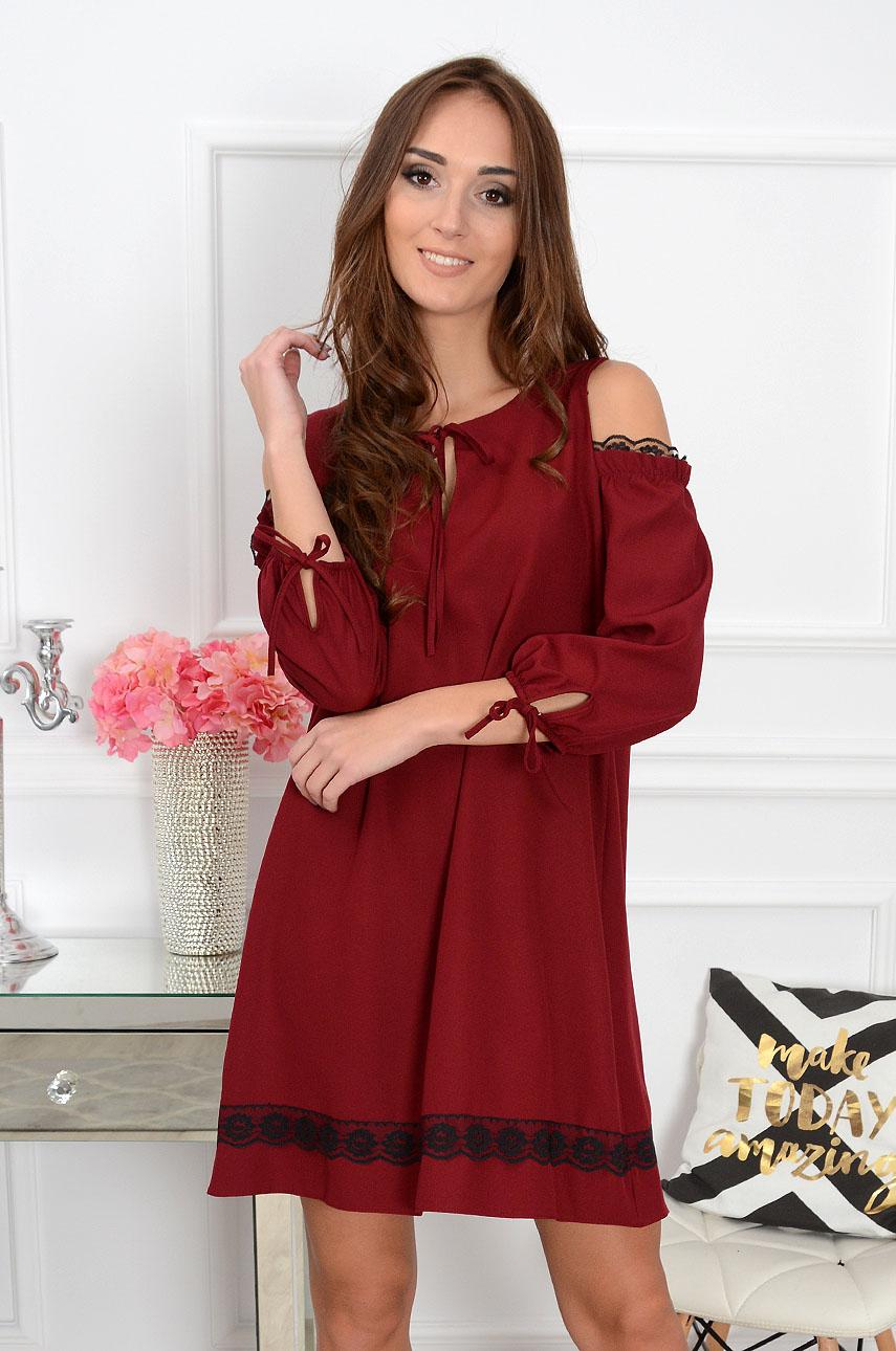 Sukienka Monami gołe ramiona burgund Rozmiar: XL