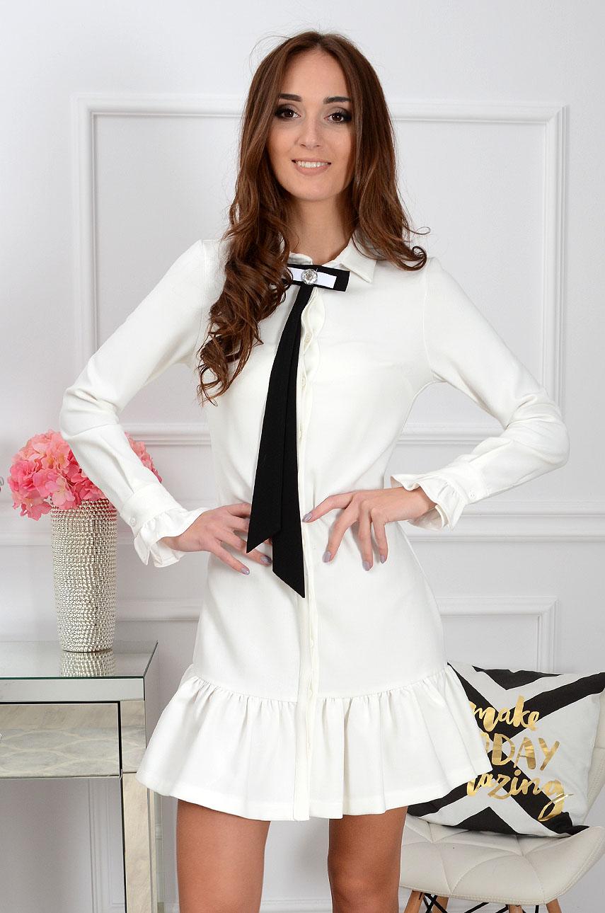 Sukienka Lumena z krawatem biała Rozmiar: S