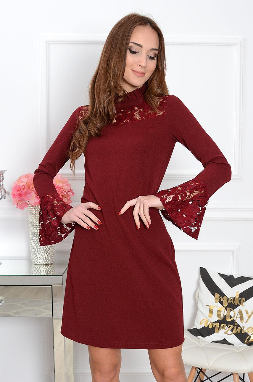 Sukienka Almeria z koronką burgund Rozmiar: L