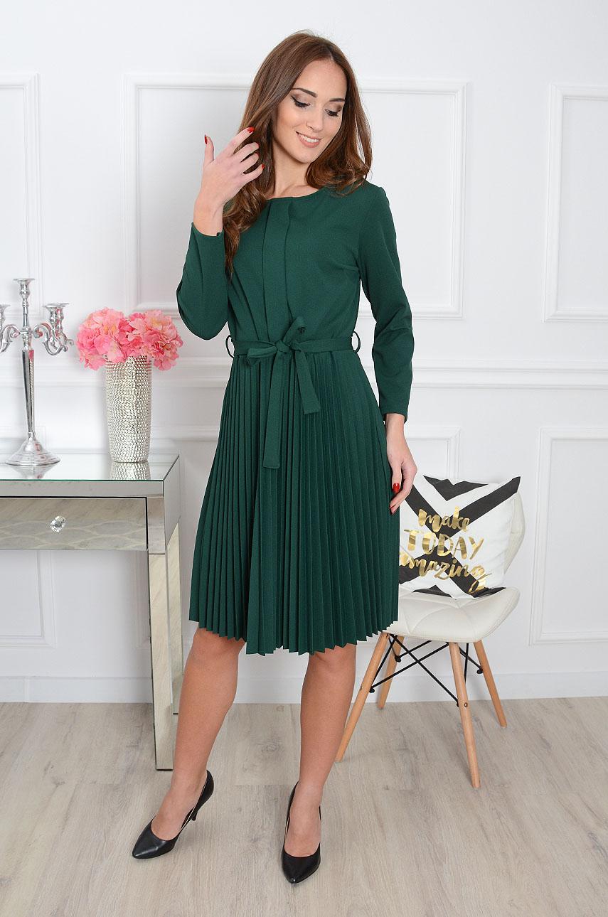 b512b771984fc8 Sukienka plisowana Lumida butelkowa zieleń - Cocomoda.pl - od...