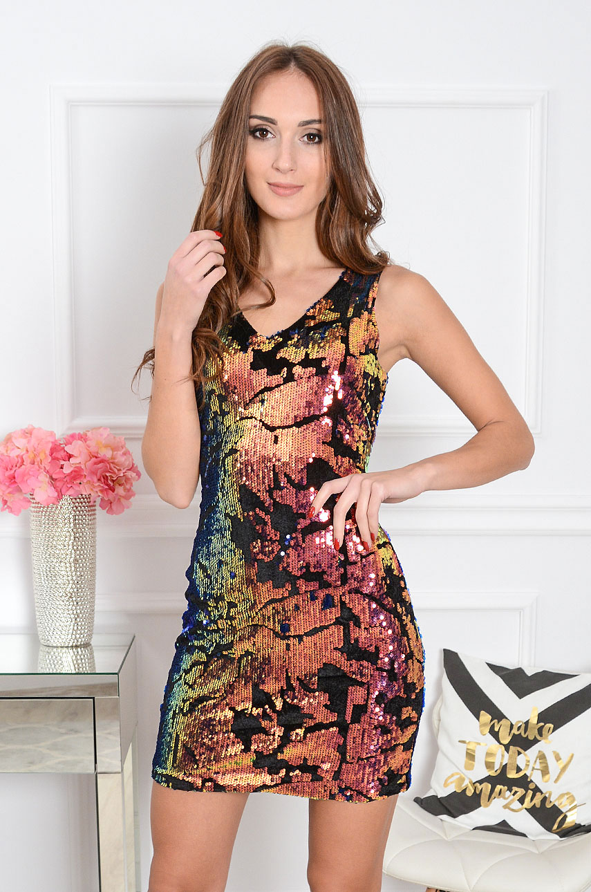 Sukienka cekinowa Magma opalizująca pink-blue Rozmiar: L