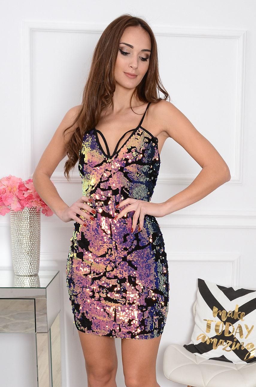 Sukienka cekinowa Magma 2 opalizująca pink Rozmiar: M/L