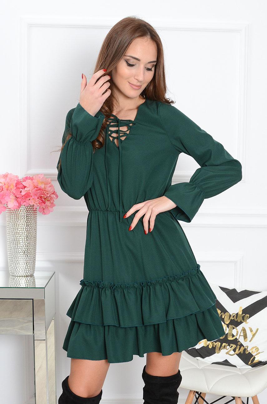 a689a765f17003 Sukienka z falbanami butelkowa zieleń Sklep internetowy cocom...