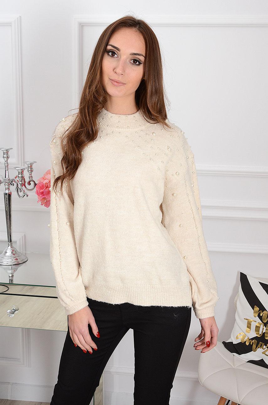 Sweter Pearl Glam z perłami beżowy Rozmiar: UNI