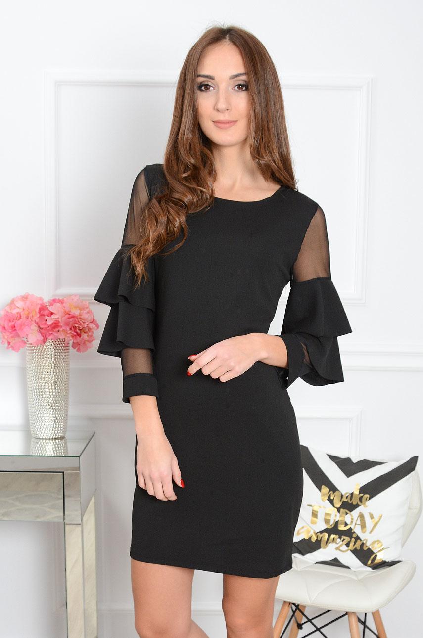 Sukienka Sonia z falbanami na rękawach czarna