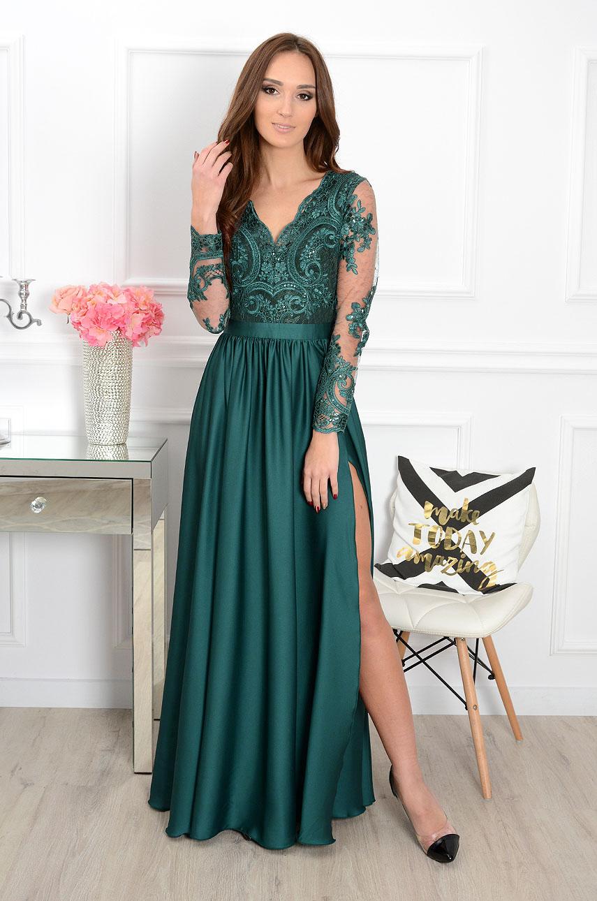 0ea31a3637 Sukienka maxi Athena długi rękaw butelkowa zieleń