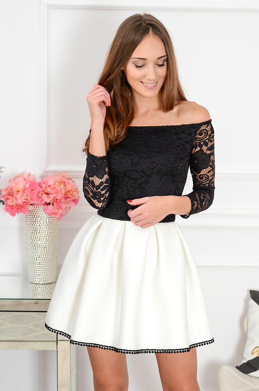 Sukienka Grace z koronką czarno biała 34 rękaw