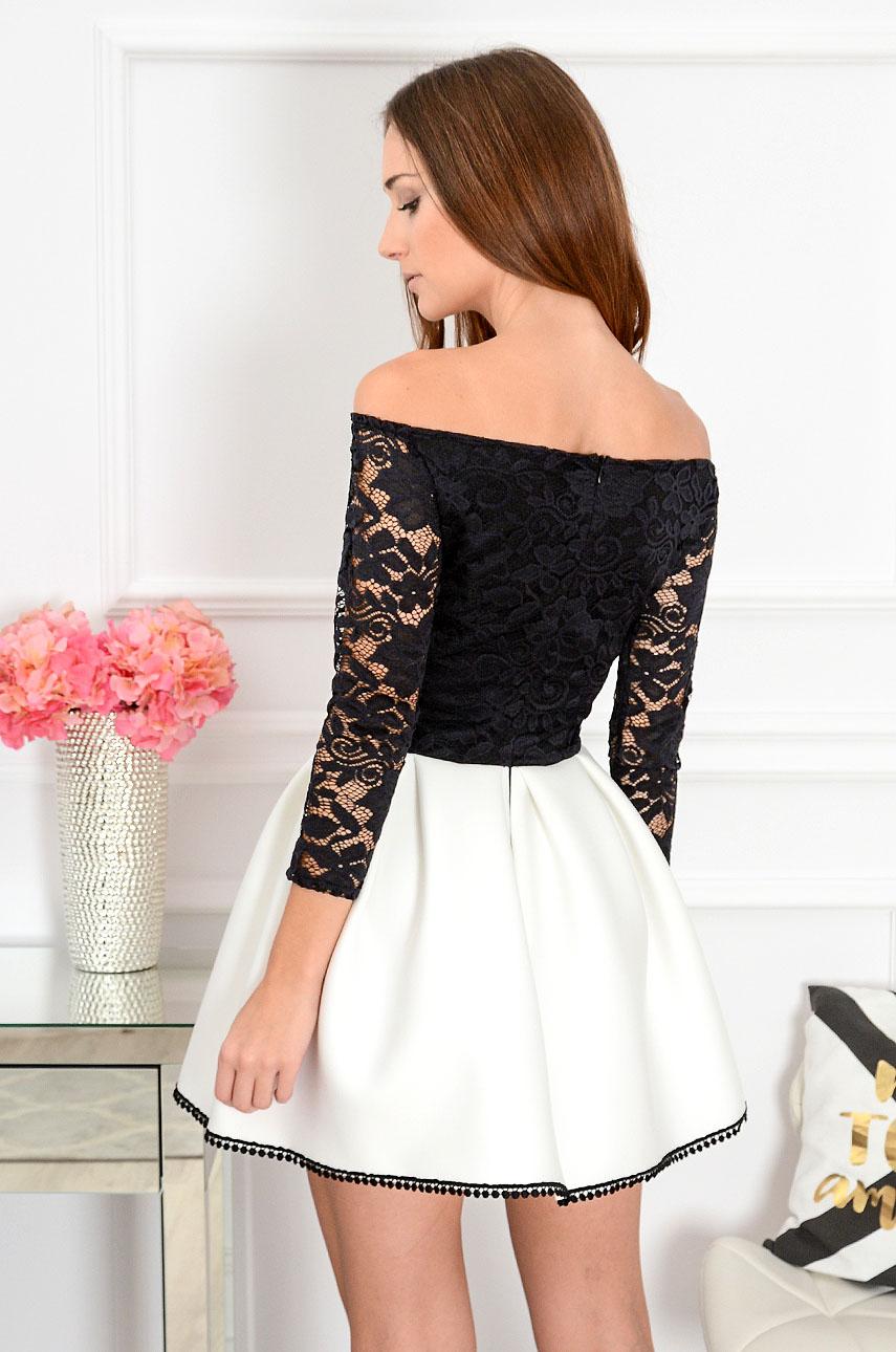 a5783c4fbd Sukienka Grace z koronką czarno-biała 3 4 rękaw