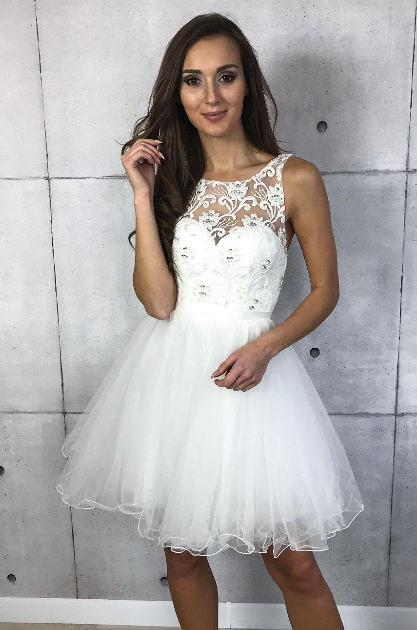 434869f43f Wystarczy Sukienka z koronki i tiulu biała Sklep internetowy cocomoda.pl  AA-59