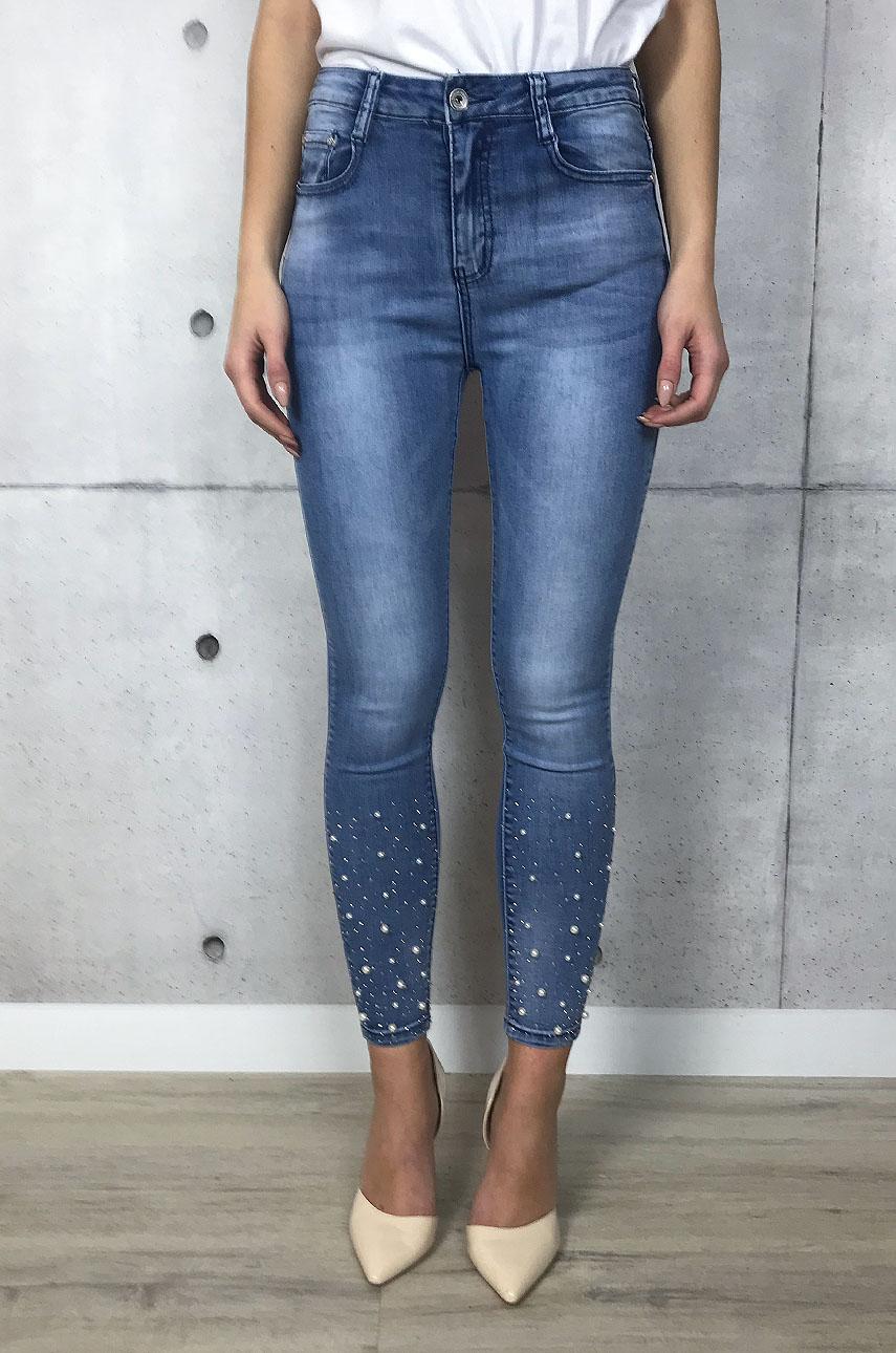 8ca0dd97f92b Spodnie jeans wysoki stan z perłami i dżetami - Cocomoda.pl -...