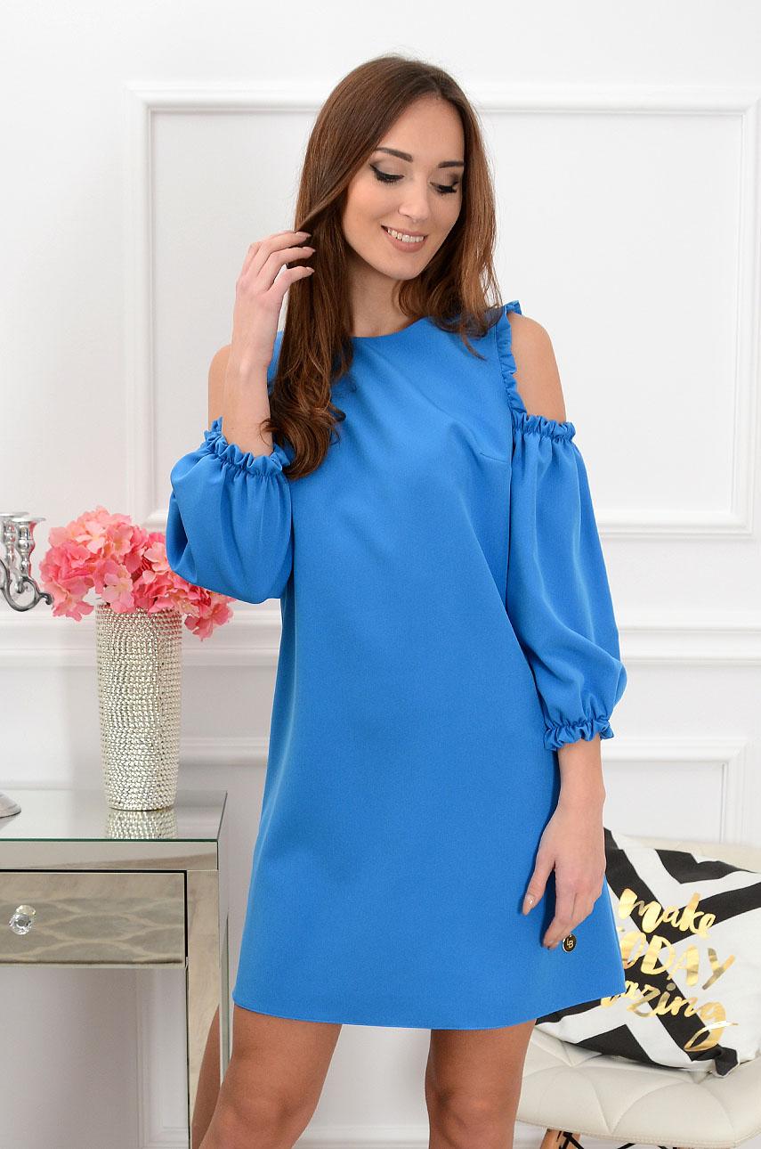 Sukienka Nastia gołe ramiona kobalt Rozmiar: M