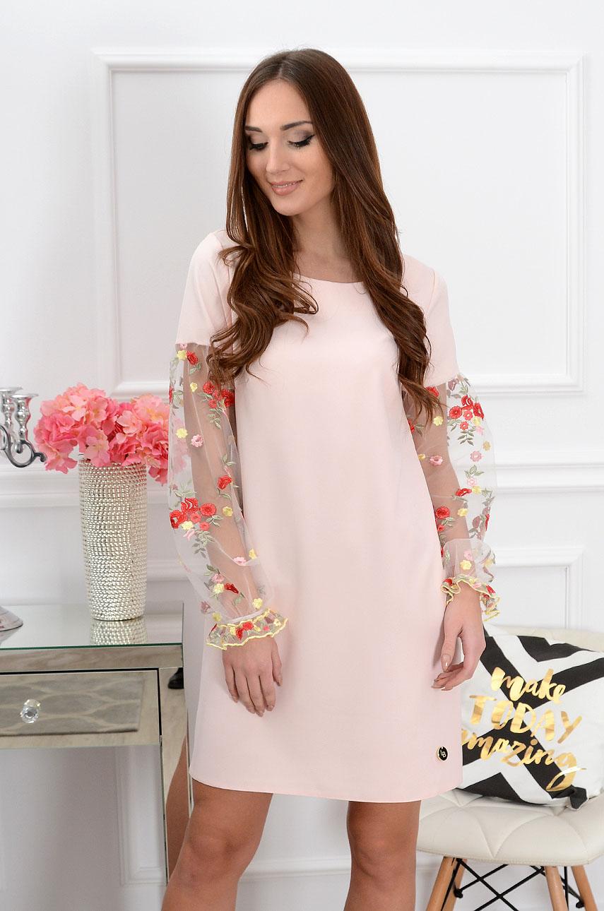 Sukienka Ingrid haftowane rękawy pudrowy róż Rozmiar: M