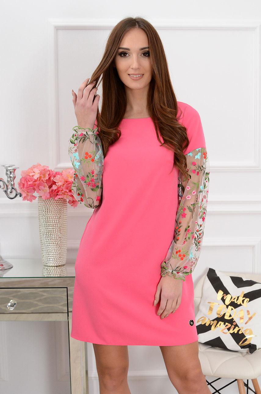 Sukienka Ingrid haftowane rękawy fuksja Rozmiar: S
