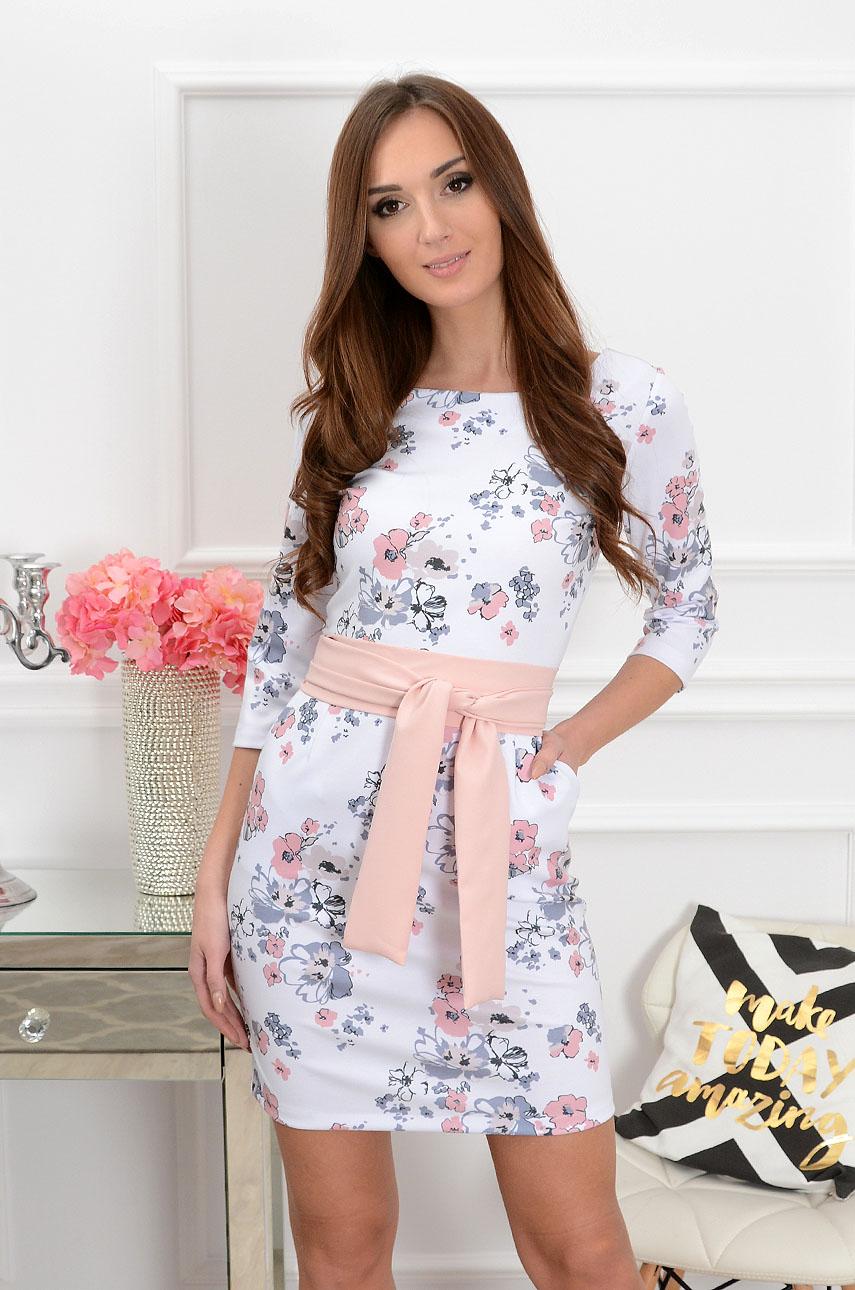 a6ba9900ca Sukienka z szarfą w kwiaty biało-pudrowa Sklep internetowy co...