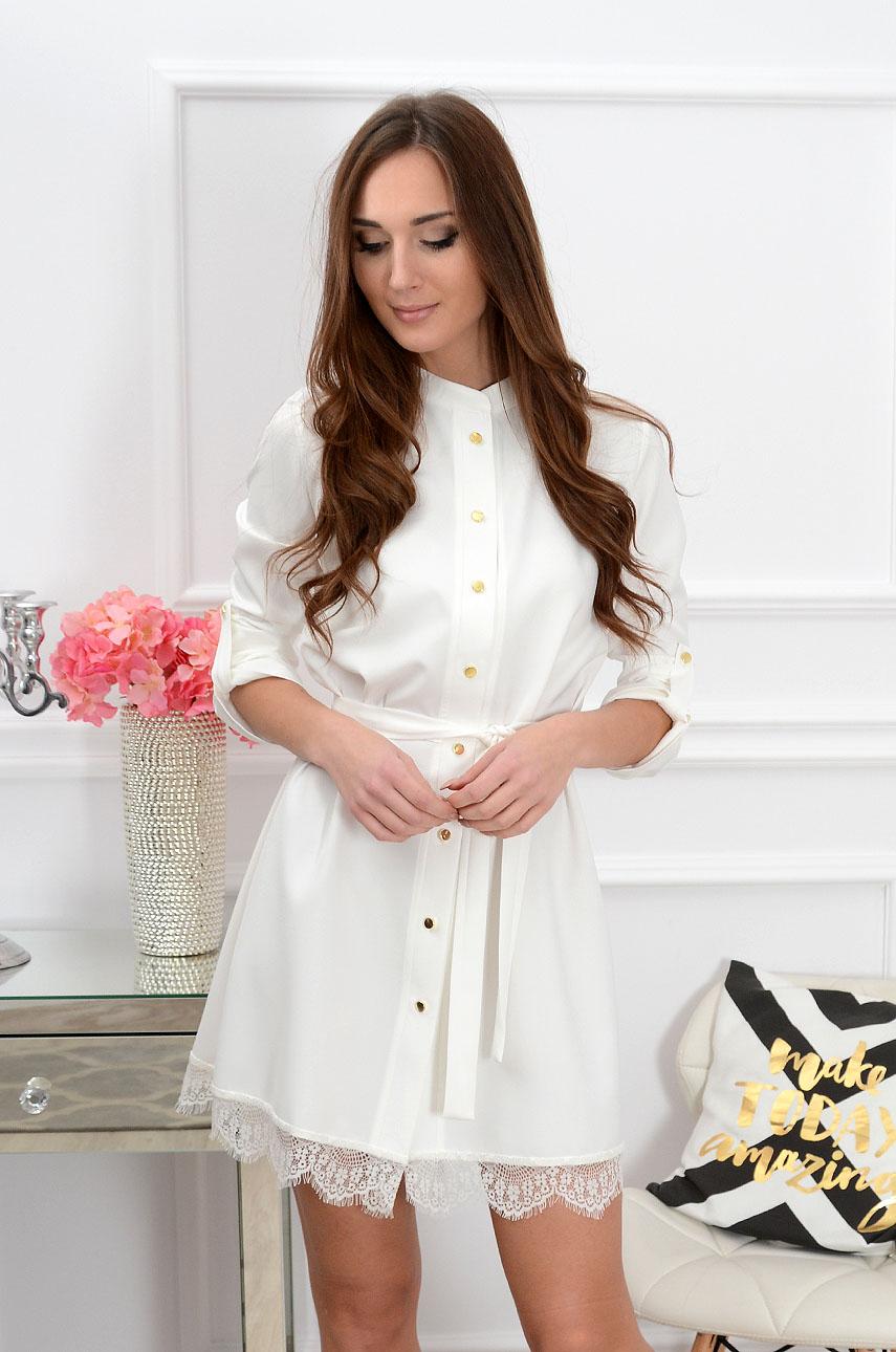 Sukienka Elza na guziki z koronką biała