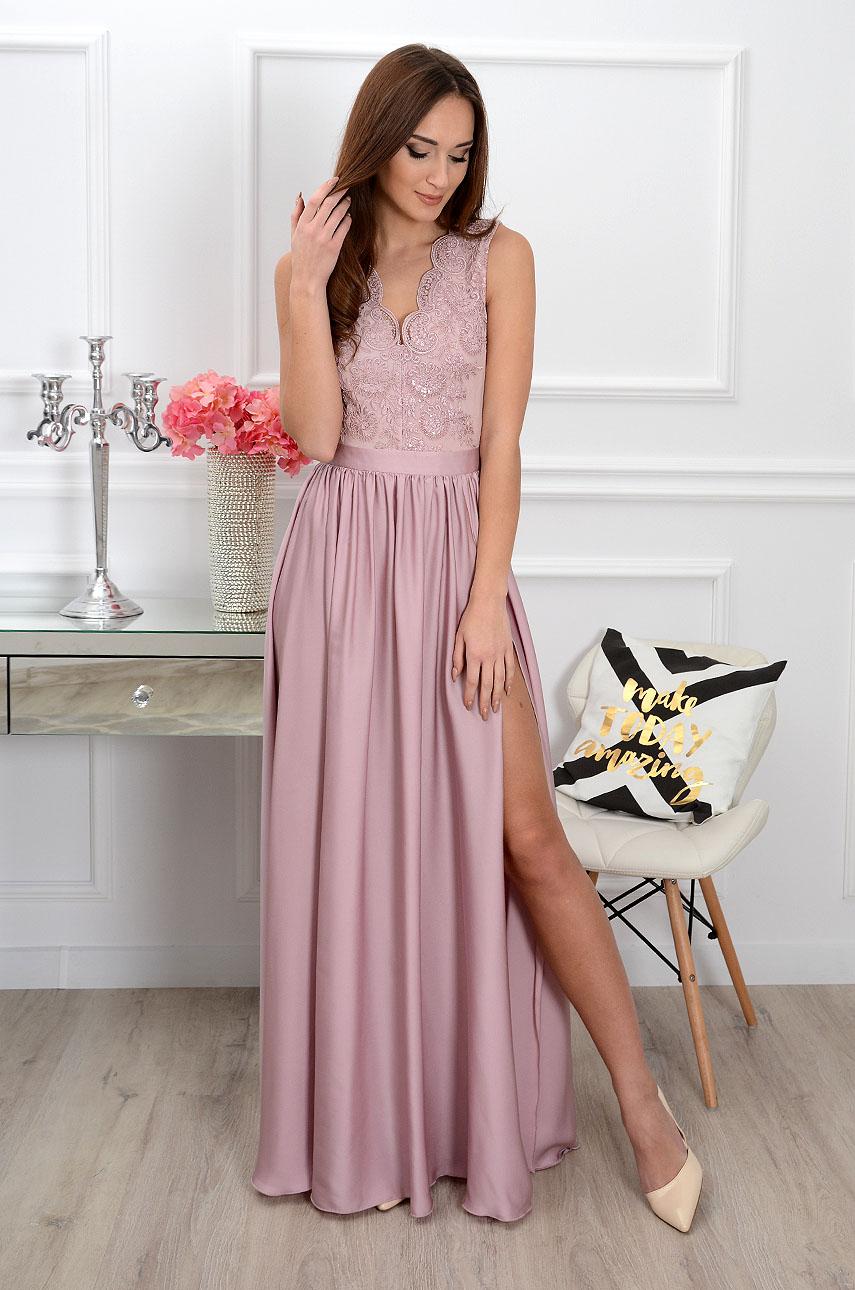 Sukienka maxi Athena z gipiurą brudny róż