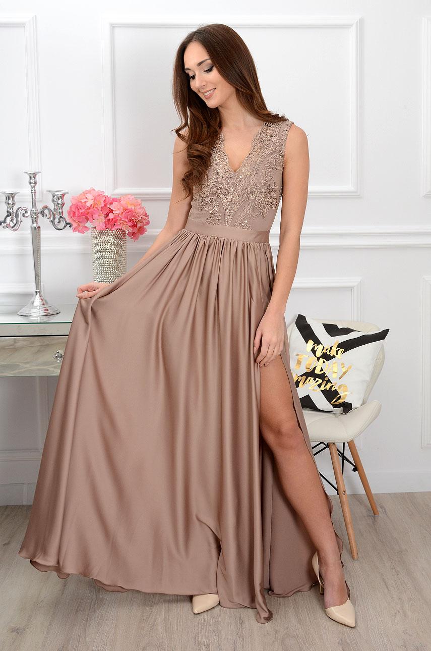 ea6141356f Sukienka maxi z gipiurą cappucino Sklep internetowy cocomoda.pl
