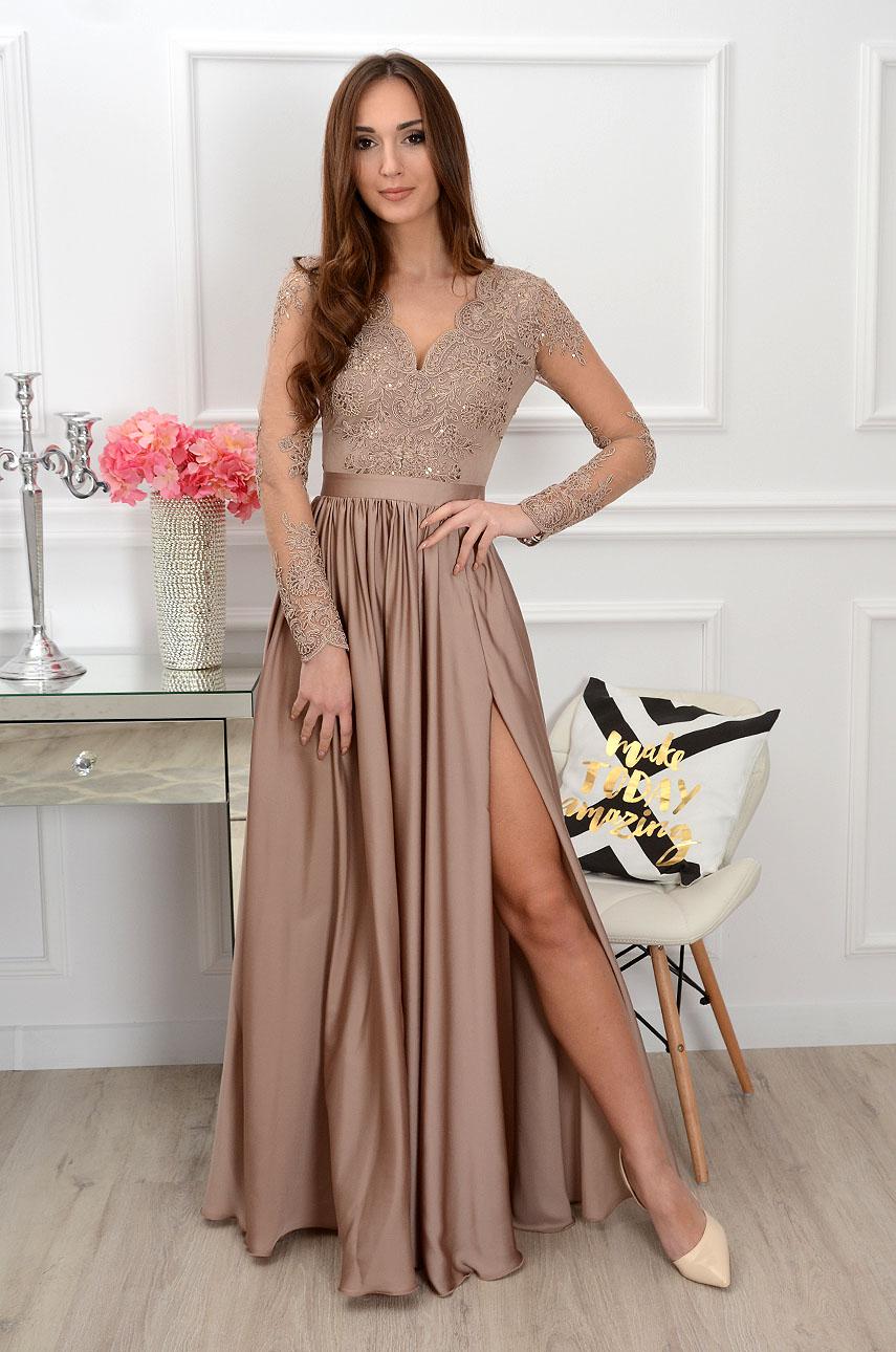 f1fe5dacb7 Sukienka maxi z długim rękawem cappucino Sklep internetowy co...