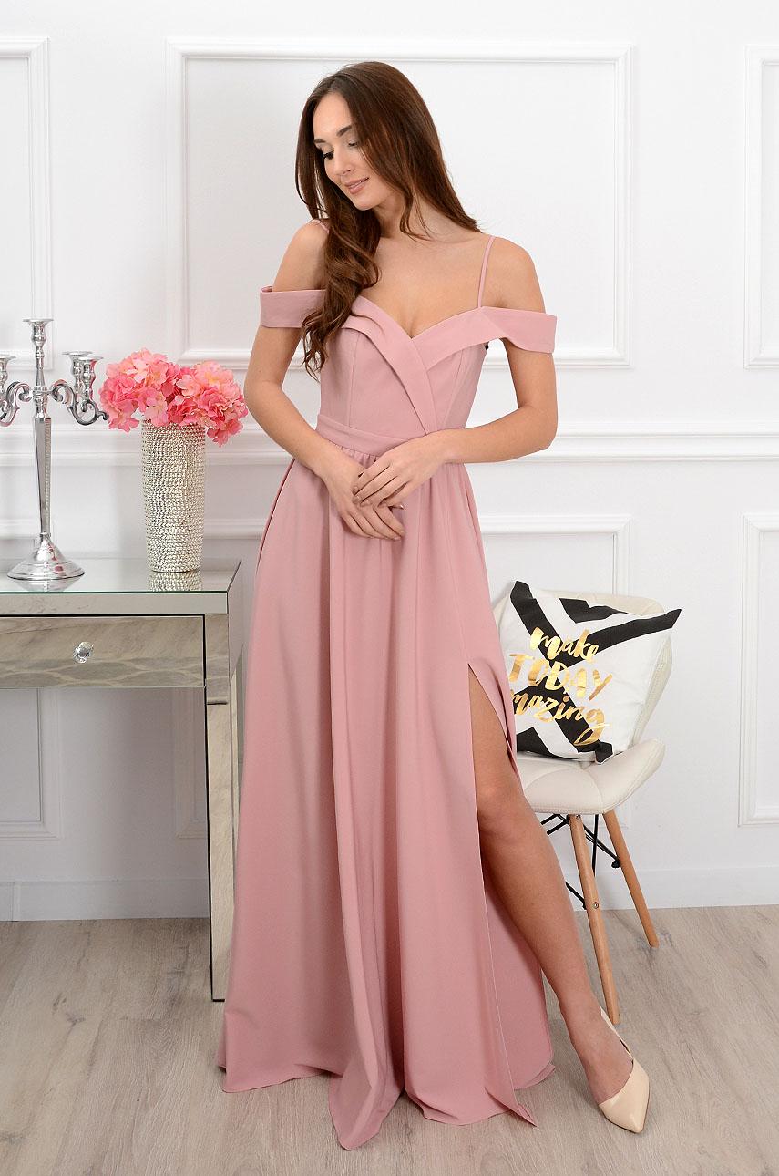 Sukienka maxi Marylin szeroki dekolt brudny róż