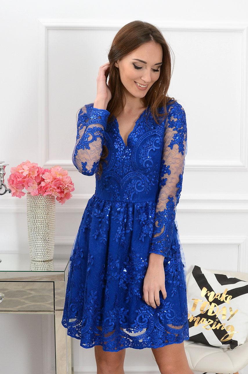 Sukienka z koronki Verona kobalt Rozmiar: S