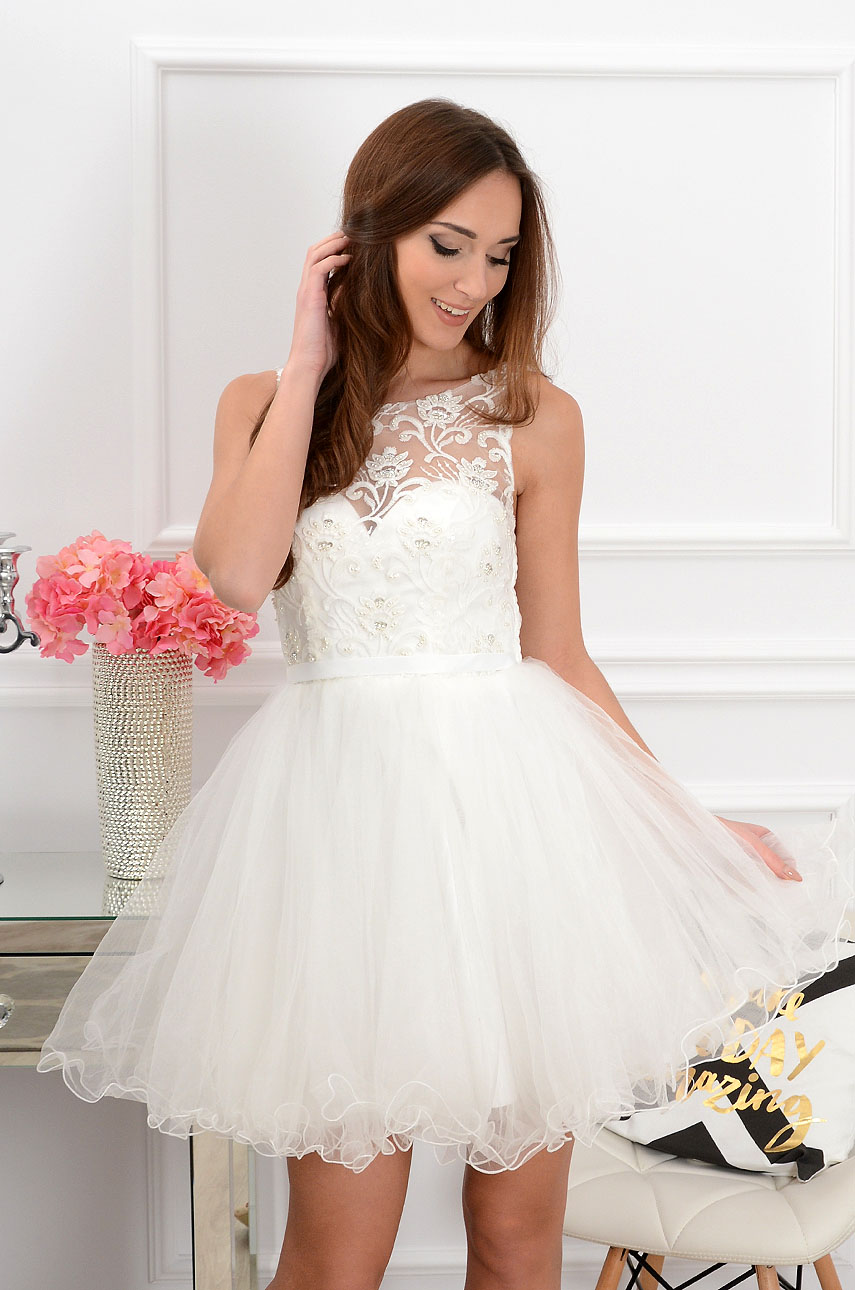 Sukienka Violetta z koronki i tiulu biała