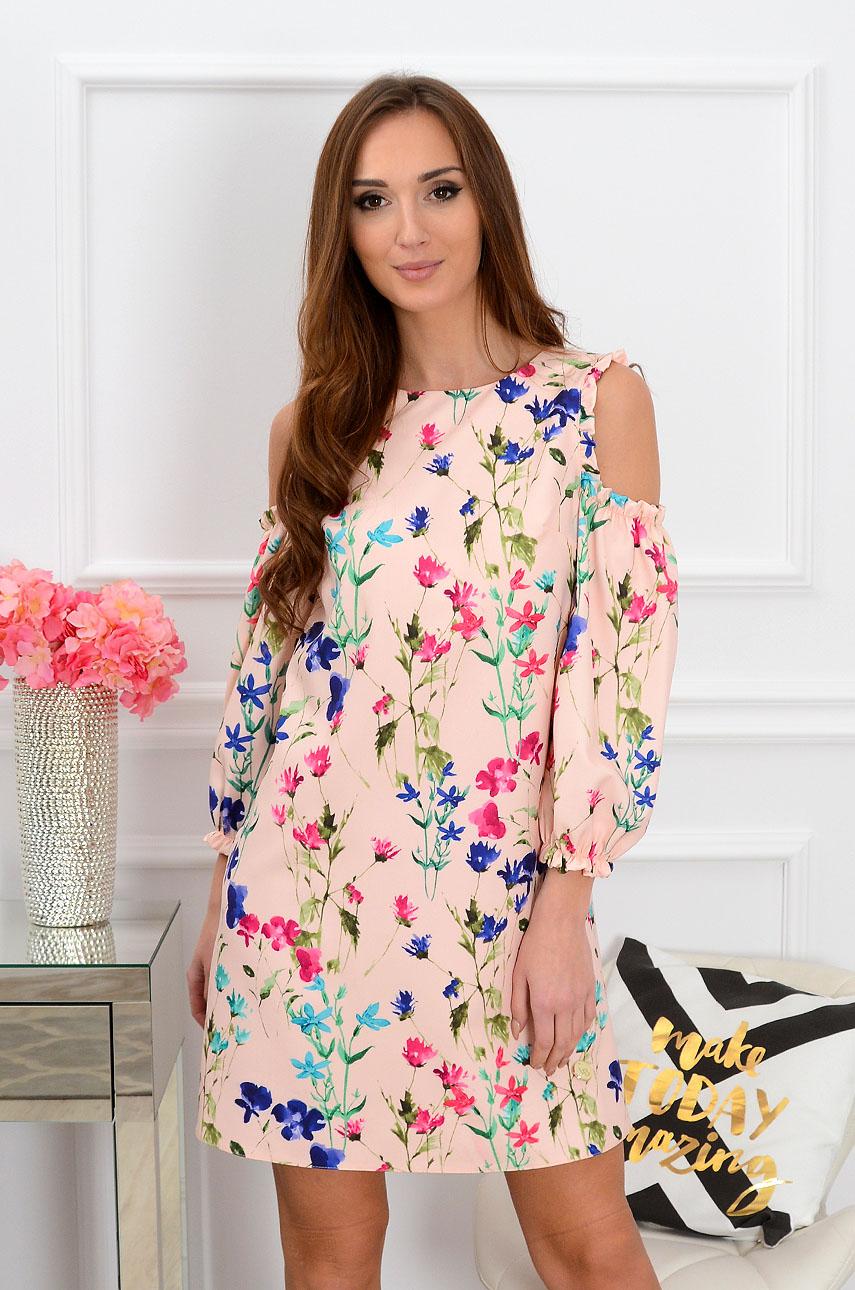Sukienka Nastia w kwiaty pudrowy róż Rozmiar: M