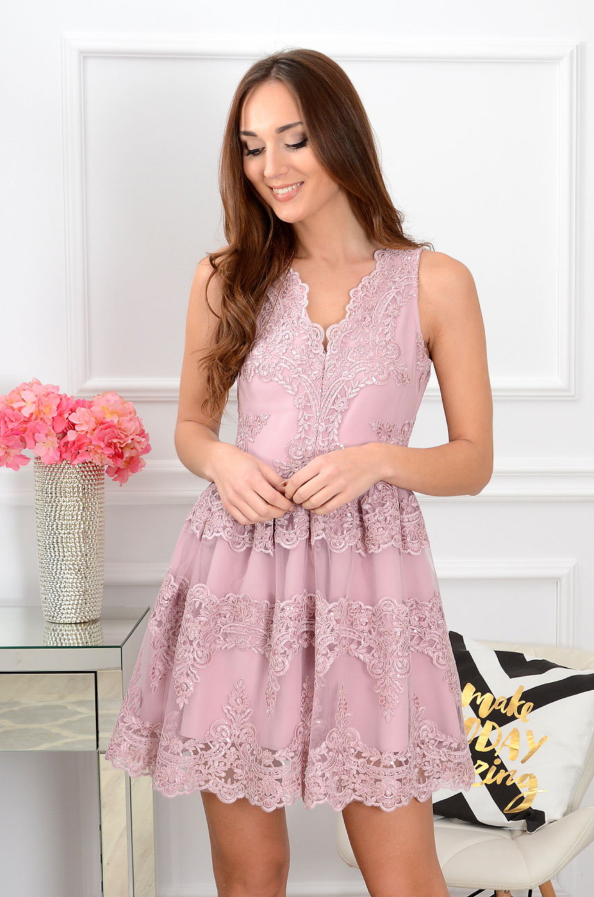 Sukienka z gipiury Luxury Lace brudny róż Rozmiar: S