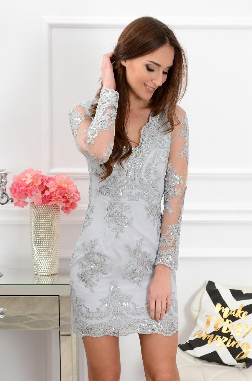 Sukienka z koronki Blanca szara new 2 Rozmiar: L