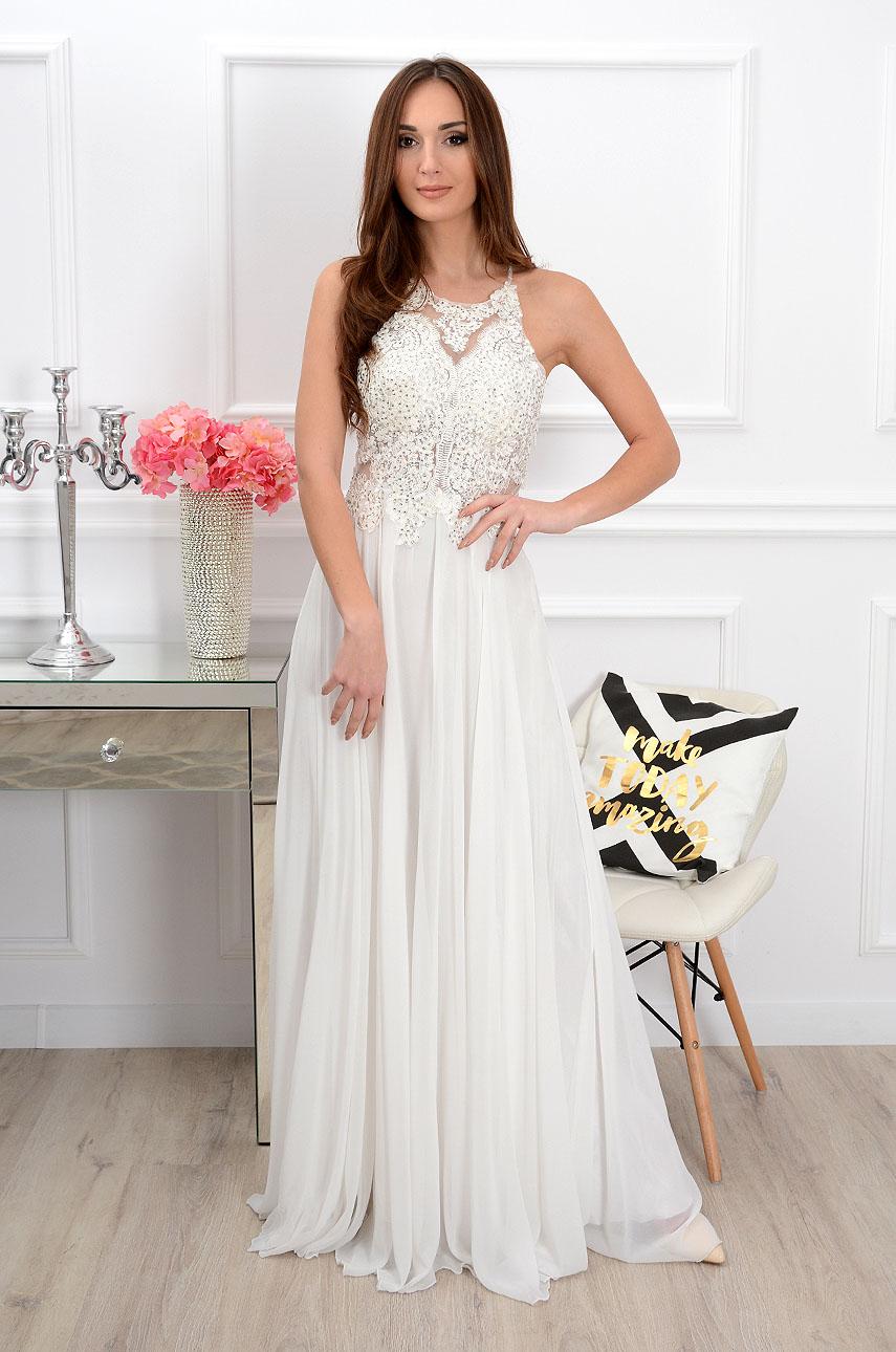 66b43ade43 Sukienka maxi z cyrkoniami biała Sklep internetowy cocomoda.p...