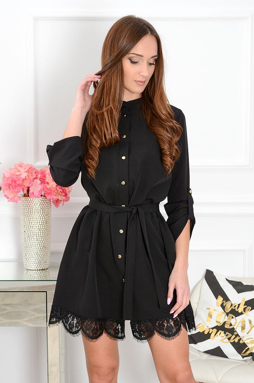 Sukienka Elza na guziki z koronką czarna Rozmiar: S