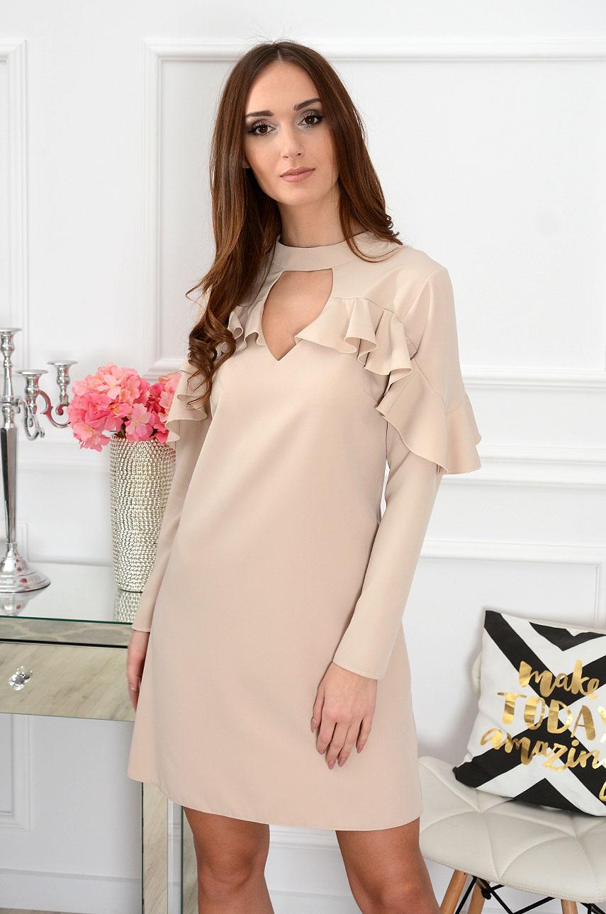 Sukienka z falbaną beżowa Aurelia Rozmiar: S