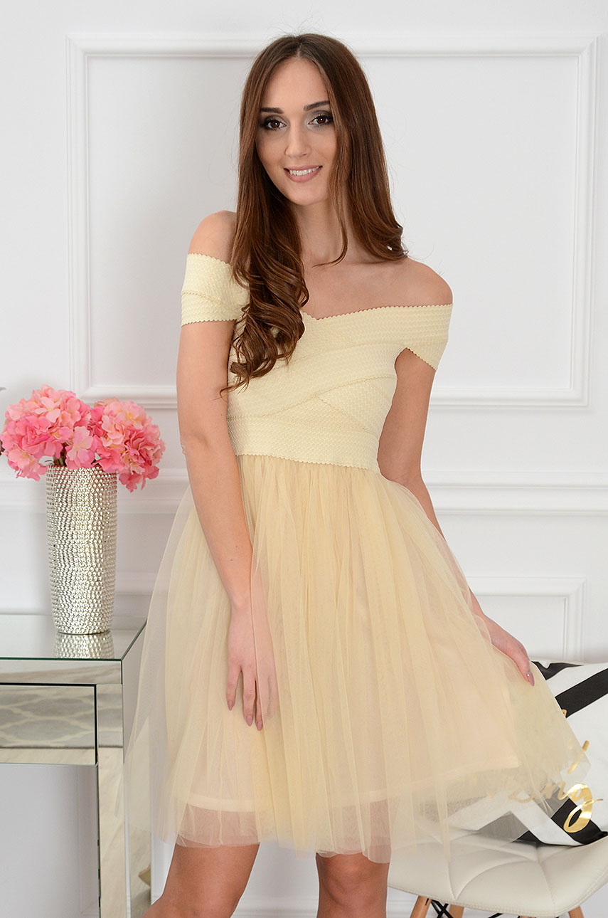 Sukienka bandażowa z tiulem beżowa Sarah Rozmiar: S