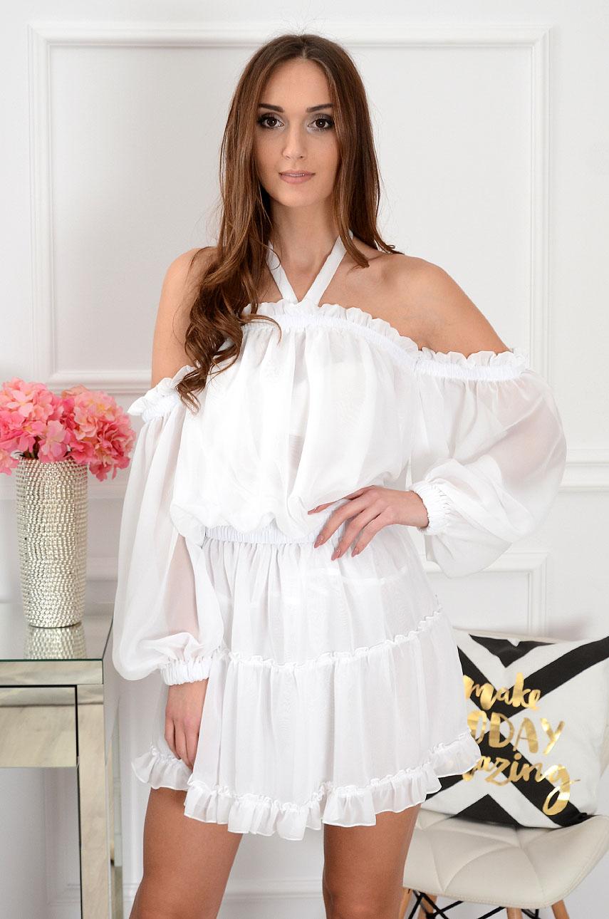 eeb7044d95 Sukienka szyfonowa biała Sklep internetowy cocomoda.pl zaprasza