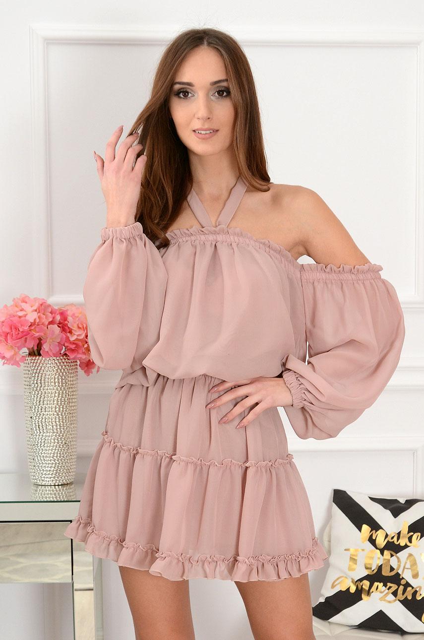 0f1ffdae7483 Sukienka szyfonowa Nicole pudrowy róż - Cocomoda.pl - odzież ...