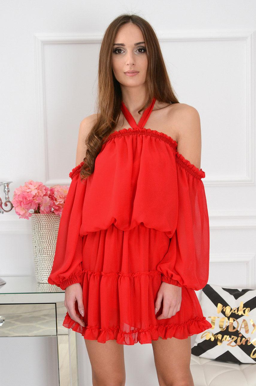 Sukienka szyfonowa czerwona Nicole