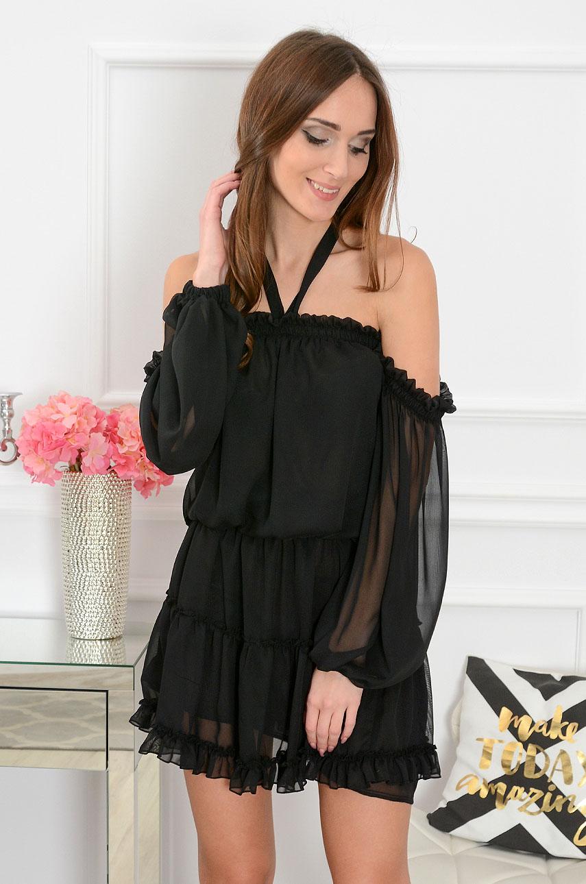 ee68fe3b96 Sukienka szyfonowa czarna Sklep internetowy cocomoda.pl zaprasza