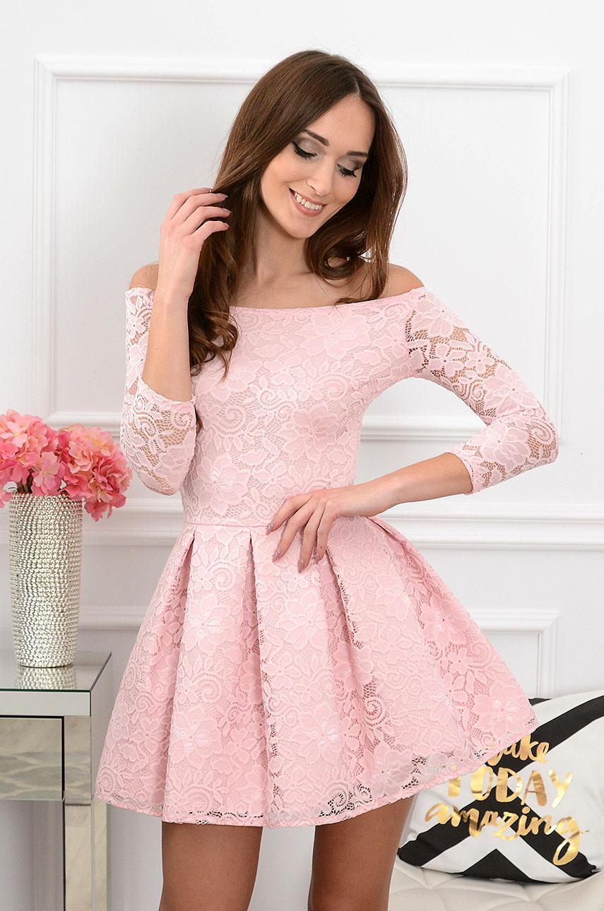 1d5c81a26c Sukienka koronkowa pudrowy róż Scarlet Sklep internetowy coco...