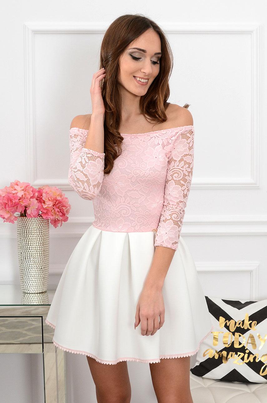 Sukienka z koronką różowo-biała 3/4 rękaw 2 Grace Rozmiar: M