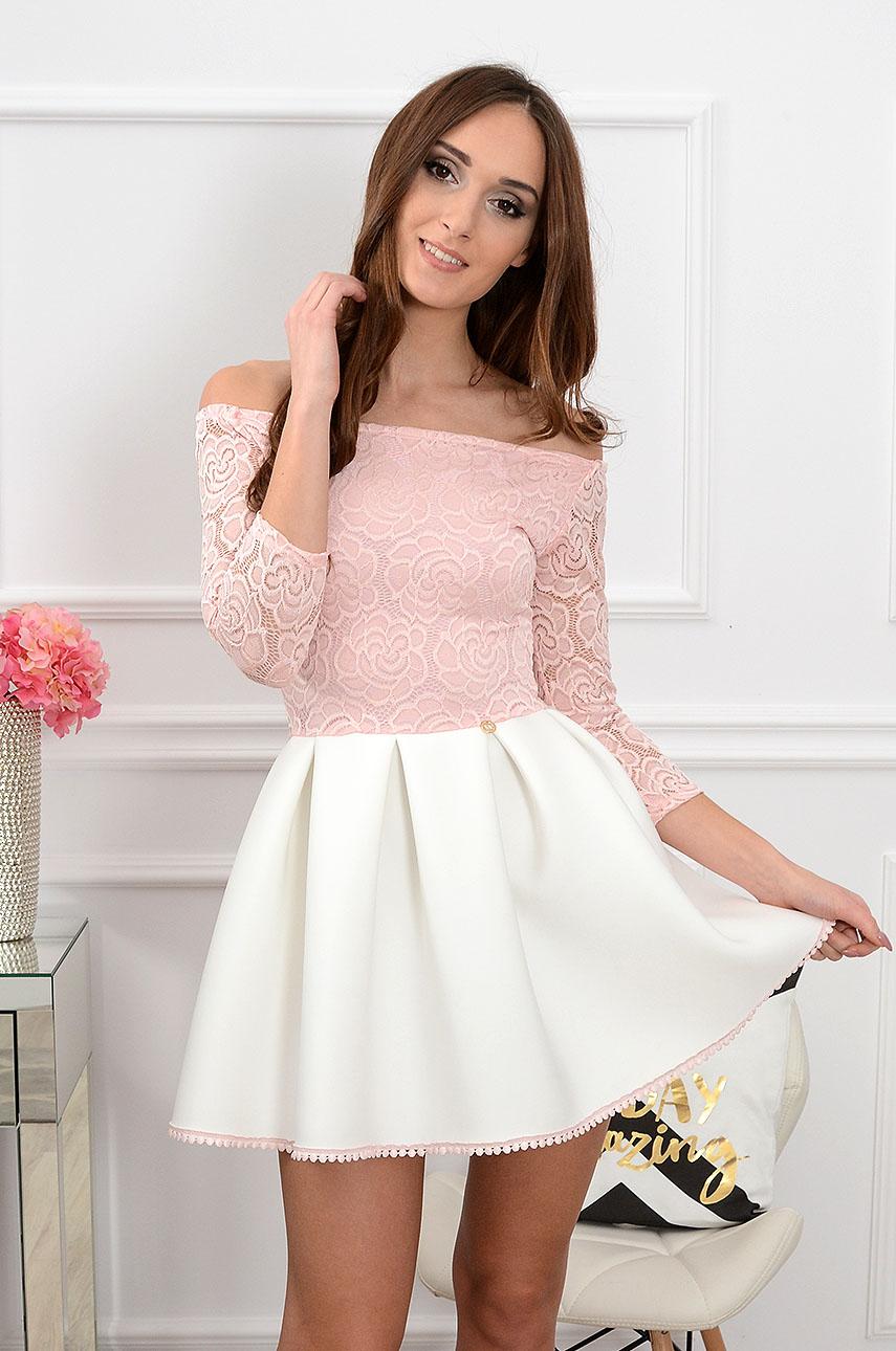 45d4992017 Sukienka Grace z koronką różowo-biała 3 4 rękaw 3