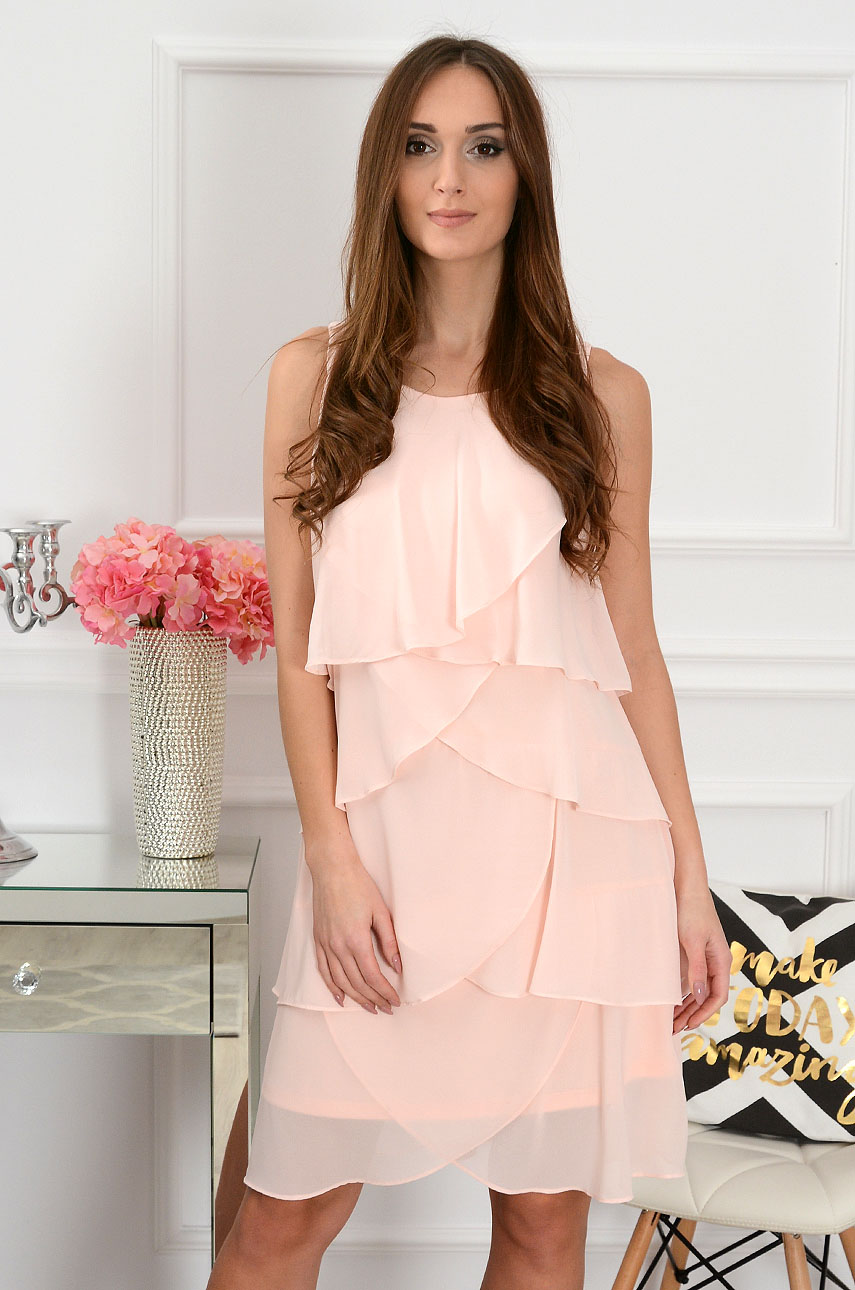 Sukienka z szyfonowych falban pudrowy róż Rozmiar: XL